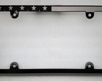 American Flag, Billet Aluminum License Plate Frame, Black Anodized Frame, Slim Line