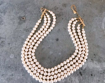 Vintage pearls, pearl choker, bridal pearls, pearl necklace, vintage bridal choker, vintage bridal pearls, pearls, cream, four strand pearl,