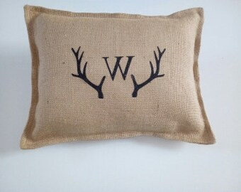 personalized burlap pillow