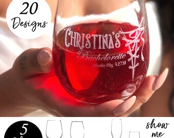 8 Bridesmaids, Personalized Wine Glasses, Custom Wine Glasses, Brides Maid Gift, Set of 8 Bridesmaid Gifts
