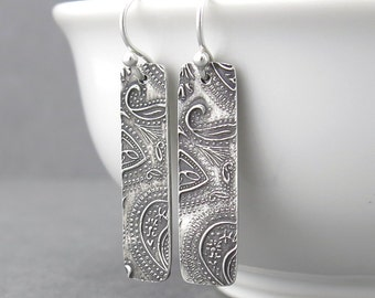 Dangle Silver Earrings Sterling Silver Bar Earrings Modern Jewelry Geometric Jewelry Contemporary Rectangle Gift for Her Dainty Paisley