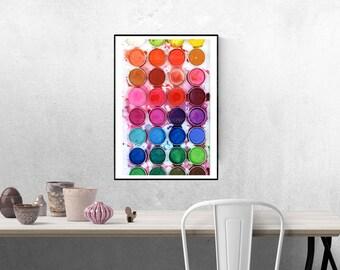 Digital Download Watercolor Palette Printable Wall Art