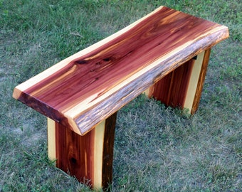 Cedar Bench, Live Edge Cedar Bench, Wood Bench, Garden Bench, Decorative Bench, Entryway Bench