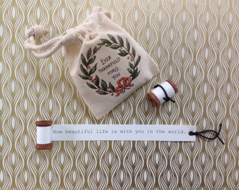 How Beautiful Life is With You in the World Wooden Spool with Fabric Gift Bag