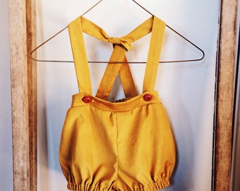 MAPLE SUSPENDER PANTS in Mustard Linen- Children's Unisex Suspender Bloomers.