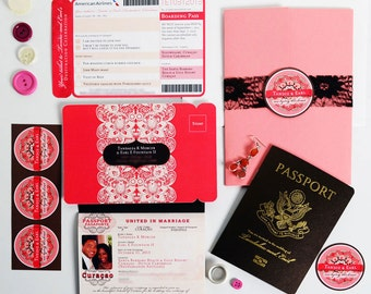 TANDIE Passport and Boarding Pass Destination Wedding Invitation Suite, Custom Booklet Invite, Airline Ticket, Plane Ticket, US Passport