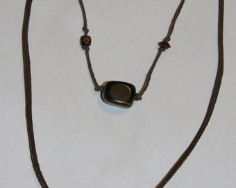 Woodstock Leather, Hemp and Bead necklace