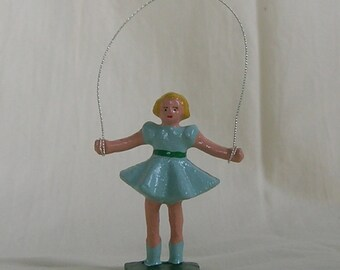 Little Girl Jumping Rope (wire jumprope), collectible figurine, model train layout, hand-painted reproduction of vintage figure