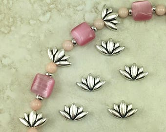 5 TierraCast Lotus Beads > Flower Floral Zen Yoga Buddhism - Silver Plated Lead Free pewter - I ship Internationally 5812