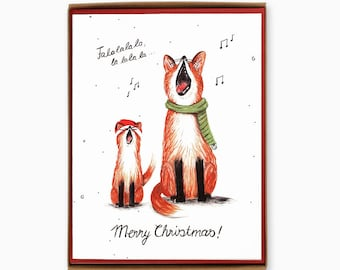 Box of 8 Singing Foxes Christmas cards - Merry Christmas - funny animal greeting card / HLY-FOX-BOX