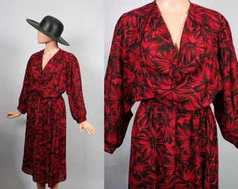 Semi Sheer Secretary Dress Draped Cowl Neck 1980s Blouson 80s Dolman Sleeve Red and Black Floral Flower Print Day to Night Dress Medium