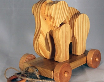 Wooden Pull Toy Elephant  Child Safe, Handcrafted from Reclaimed Wood, Eco Friendly by GiggleTree Toys