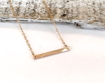 14kt Gold Filled Thin Bar Necklace, 14kt Rose Gold Filled Thin Bar Necklace, 925 Sterling Silver Horizontal Bar Necklace, Nameplate Necklace