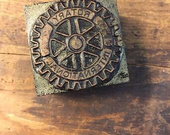 Vintage Letterpress Stamp Wood Metal Block Rotary International 1.5 Inch Square