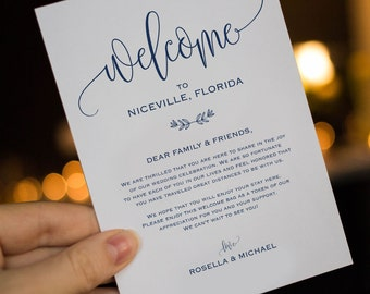 Navy Blue Wedding Welcome Bag Note, Welcome Bag Letter, Wedding  Itinerary,Agenda,