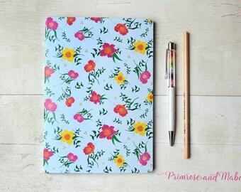 SALE, A5 Floral Notebook, A5 Sketchbook, Notebook, Plain Paper Notebook, Notebook Gift, Floral Stationery, Designer Stationery