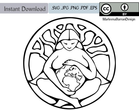 Mother Earth, Goddess, Pacha Mama, Gaia Line Art Vector Clipart Download,  Creative Commons