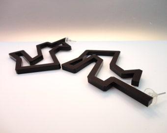 Holzwege | Discontinued Black Earrings | Perspex Earrings |  Stud Silver | Stud Earrings |  Geometric Jewelry | Hand-made manufacturing 100%