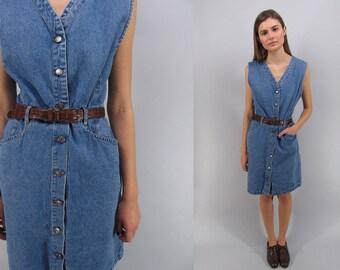 Vintage 90s Denim Dress, Denim Shift Dress, Jean Dress, Minimalist Denim Dress, Gloria Vanderbilt Dress Δ size: md