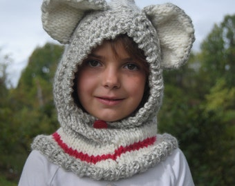 Sock Monkey Hood or Cow, Knitting Pattern only -PDF Download