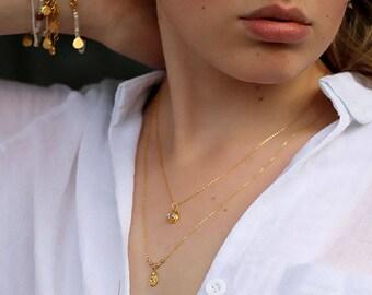 Lakshmi Gold Necklace, 18k Gold Plated Lakshmi Necklace, Crystal Necklace, Goddess Necklace