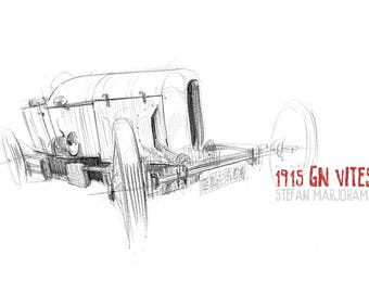 1915 GN Vitesse - Original A3 Pencil Sketch