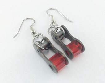 Red bicycle earrings, recycled bike chain jewelry , bicycle part gifts, bicycling earrings, biking earrings, cycling accessories