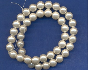 16 Inch strand of Glass Pearl Beads, White, 10mm