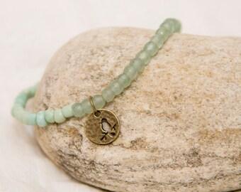 Bird charm bracelet, bird on a branch charm, green aventurine, stone bead jewelry, gemstone, stack jewelry, boho bracelet, bird charm