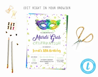 Mardi gras party tem, TRY BEFORE you BUY, instant download, edit yourself invitation,Template Editable