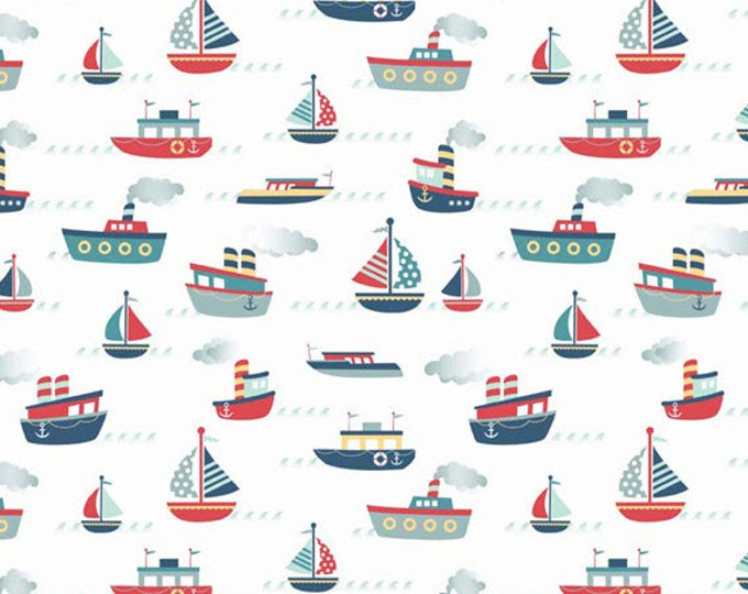 Half Yard Fly Aweigh - Boats in White - Nautical Themed Cotton Quilt Fabric - C3871-WHITE - Samantha Walker for Riley Blake Designs (W2518)