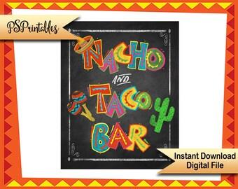 Fiesta Party Nacho & Taco bar sign, fiesta chalkboard sign, Birthday Fiesta Sign, PRINTABLE Diy poster, mexican food sign,  Cinco de Mayo