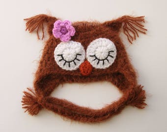 Crochet Baby Owl Hat/Fuzzy Crochet Photo Prop/Sleepy Owl Hat/Crochet Sleeping Owl/Baby Owl Hat/Crochet Owl hat/Fuzzy Owl/Newborn Hat