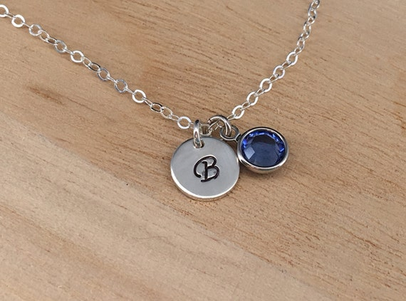 Girl initial necklace birthstone necklace little girl like this item aloadofball Image collections