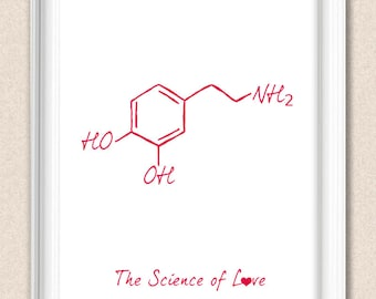 Science Print The Science of Love - Molecular Structure of Love A009