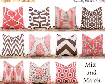 SALE ENDS SOON Pink Throw Pillows, Bittersweet Pink Pillows, Brown Throw Pillows, Chevron Pillows, Cotton Pillow Covers, 16 x 16""