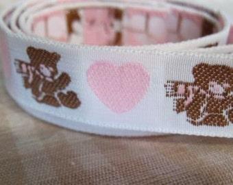 I HEART teddy bears ribbon in baby PINK