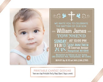 Chalk Boy Baptism Invitation Baby Boy Baptism Invitation