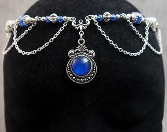 "Forehead / Headband / Tiara / Circlet / Hair ornament Accessory ""Rachelle"" / Elven Elf Fairy / Color Silver & Blue"