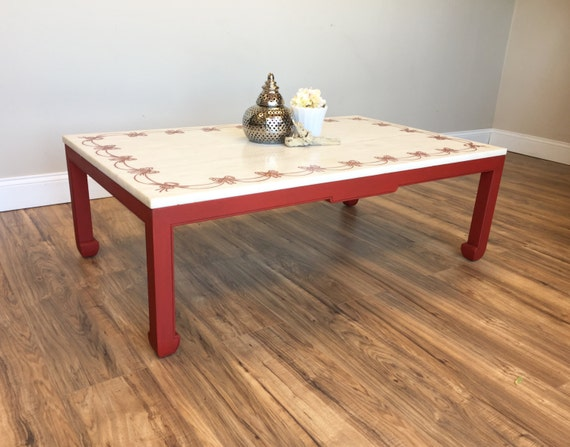 Red Coffee Table - Marble Top Table - Made in Italy - Cool Coffee Tables  - Vintage Furniture - Hipster Furniture - Unique Coffee Table