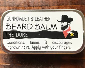 The Duke Handmade Beard Balm Conditioner Tamer 1/4 oz Slide Tin Gunpowder & Leather