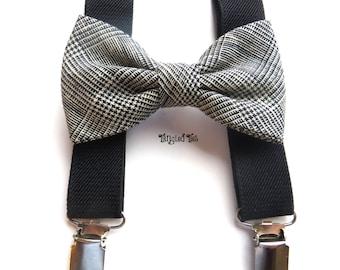 Grey Plaid Bow Tie Suspender Set, Black Toddler Suspender Set, Grey Boys' Suspender Set