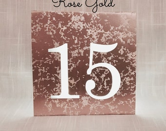 BIG Numbers MERCURY glass table numbers • ROSE gold, Gold, Silver Lighted Table  Luminaries • Wedding Luminaries • Table Numbers Wedding
