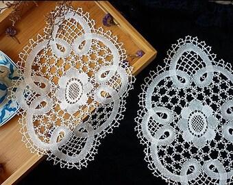 white bobbin  lace applique 33cm*24cm,cotton lace,Needle lace applique,circle Knotted Net Lace