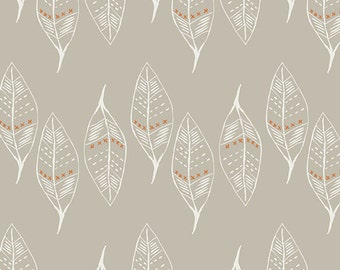 Modern Cotton Fabric by the Yard- Gusts of Leaves Silver- Wanderer- Art Gallery- Leaf Fabric-Taupe