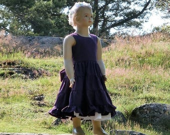 Girls purple dress. Girls easter dress.Toddler linen dress. Girls ruffle dress. Purple rustic flower girl dress. Girls summer dress.