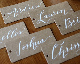 Flat place cards | Custom calligraphy | Kraft or black cards | Wedding, party, or holiday