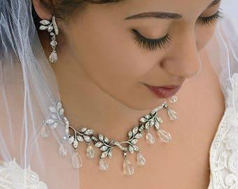 Navette Crystal Vine Necklace, Crystal Necklace, Wedding Necklace, Bridal Jewelry, Navette Crystal Necklace, Silver Necklace N415