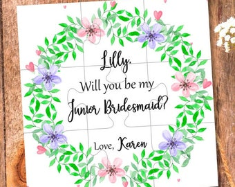 Will You Be my Junior Bridesmaid gift junior bridesmaid proposal Mini bride card Junior Bridesmaid puzzle wedding invitation Miniature bride