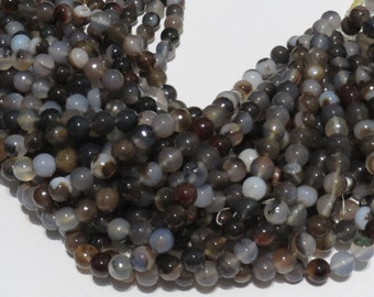 Brown Multi Color Agate 10MM Faceted Round